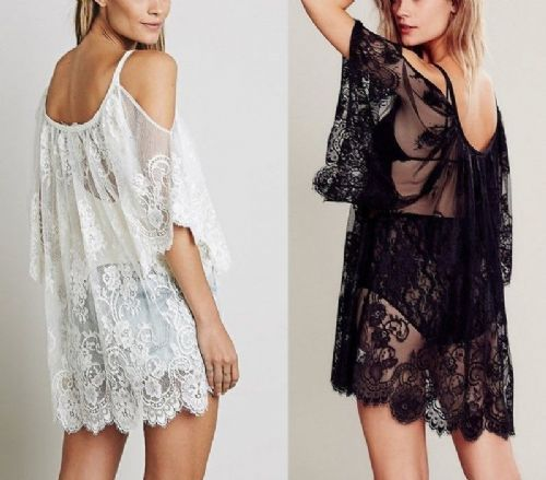 Women Girls Crochet Beach Dress Swimwear Floral Lace Cover Up Bikini Dress